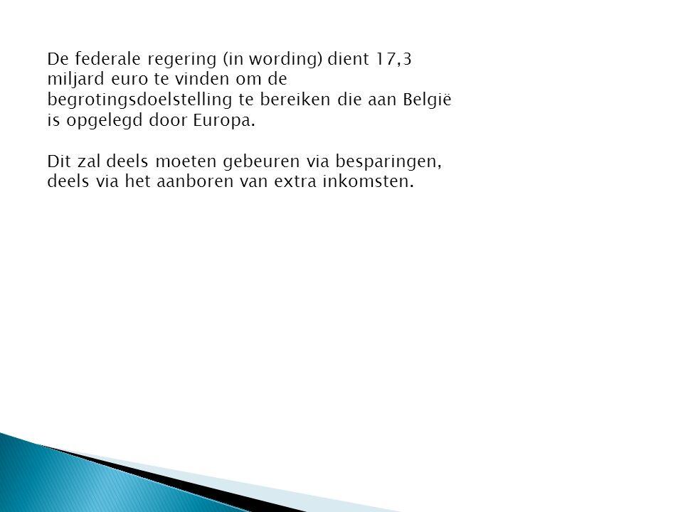 De federale regering (in wording) dient 17,3 miljard euro te vinden om de begrotingsdoelstelling te bereiken die aan België is opgelegd door Europa.