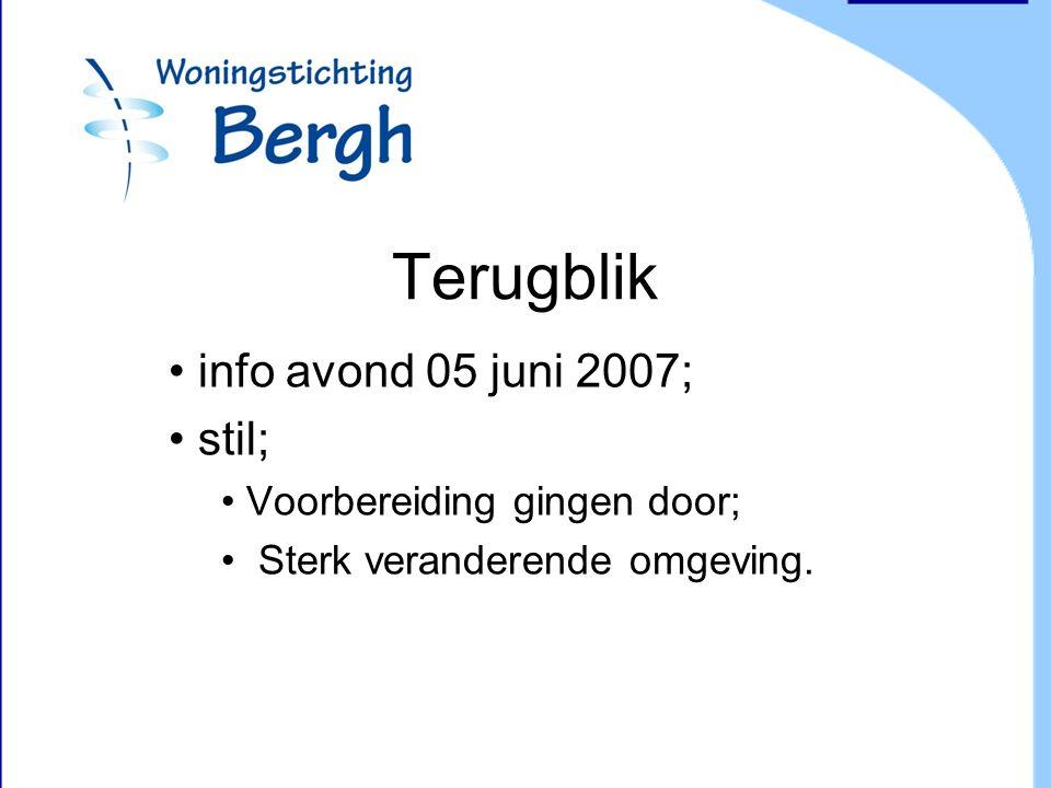 Terugblik info avond 05 juni 2007; stil; Voorbereiding gingen door; Sterk veranderende omgeving.