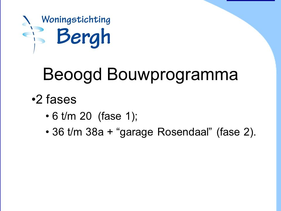 Beoogd Bouwprogramma 2 fases 6 t/m 20 (fase 1); 36 t/m 38a + garage Rosendaal (fase 2).