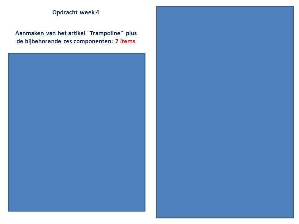Opdracht week 4 Nieuwe productieplanning aanmaken (naam geven Test ) Aanmaken van het artikel Trampoline plus de bijbehorende zes componenten: 7 items De productieplanning invoeren (= o.a.