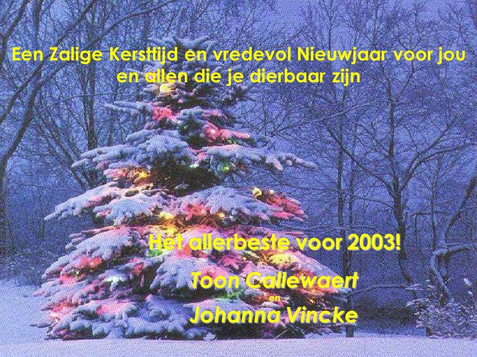 Een Zalige Kersttijd en vredevol Nieuwjaar voor jou en allen die je dierbaar zijn Het allerbeste voor 2003.