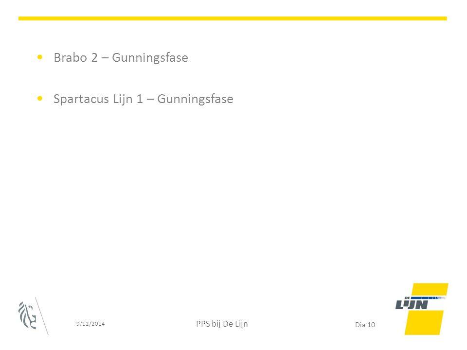 Brabo 2 – Gunningsfase Spartacus Lijn 1 – Gunningsfase 9/12/2014 PPS bij De Lijn Dia 10
