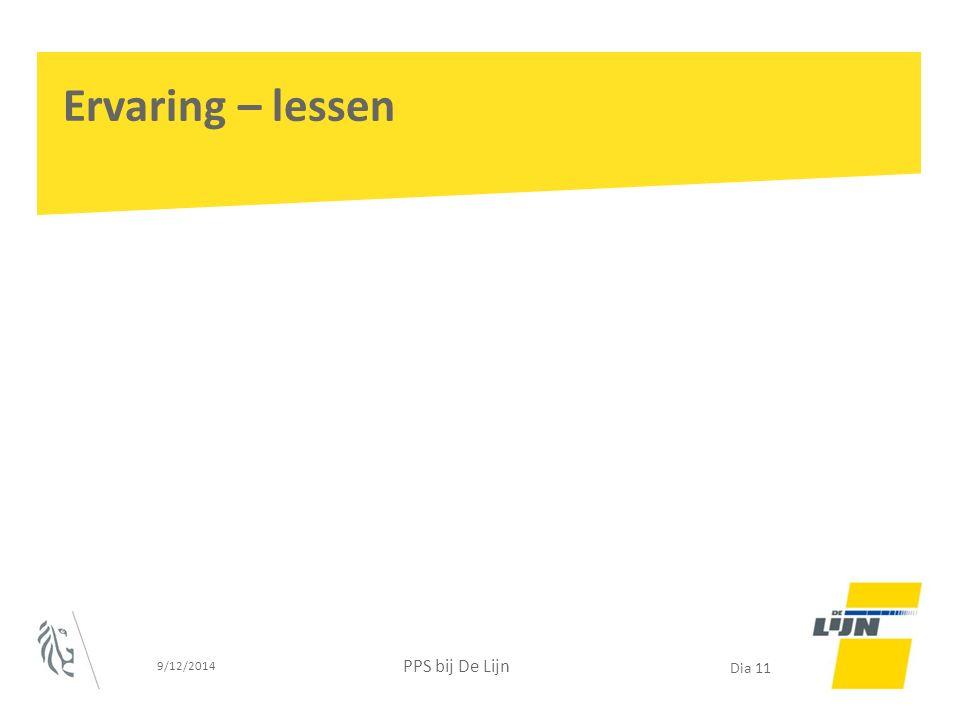 9/12/2014 PPS bij De Lijn Dia 11 Ervaring – lessen