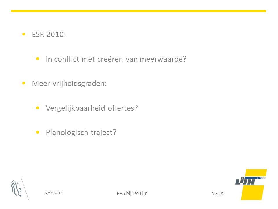 ESR 2010: In conflict met creëren van meerwaarde? Meer vrijheidsgraden: Vergelijkbaarheid offertes? Planologisch traject? 9/12/2014 PPS bij De Lijn Di