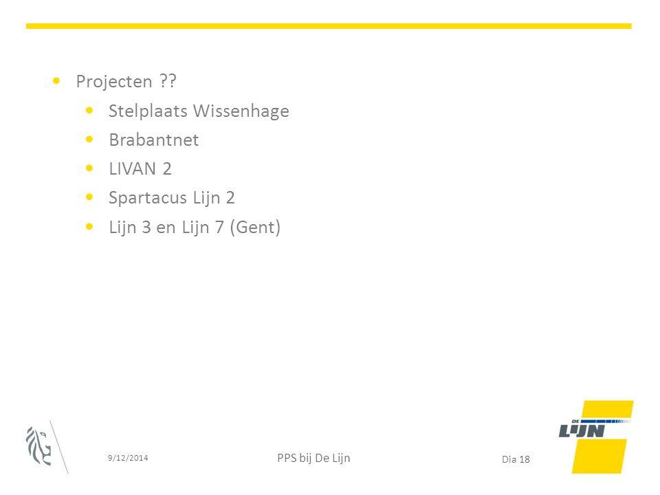 Projecten ?? Stelplaats Wissenhage Brabantnet LIVAN 2 Spartacus Lijn 2 Lijn 3 en Lijn 7 (Gent) 9/12/2014 PPS bij De Lijn Dia 18