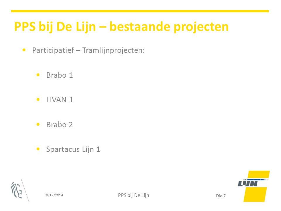 Participatief – Tramlijnprojecten: Brabo 1 LIVAN 1 Brabo 2 Spartacus Lijn 1 9/12/2014 PPS bij De Lijn Dia 7 PPS bij De Lijn – bestaande projecten