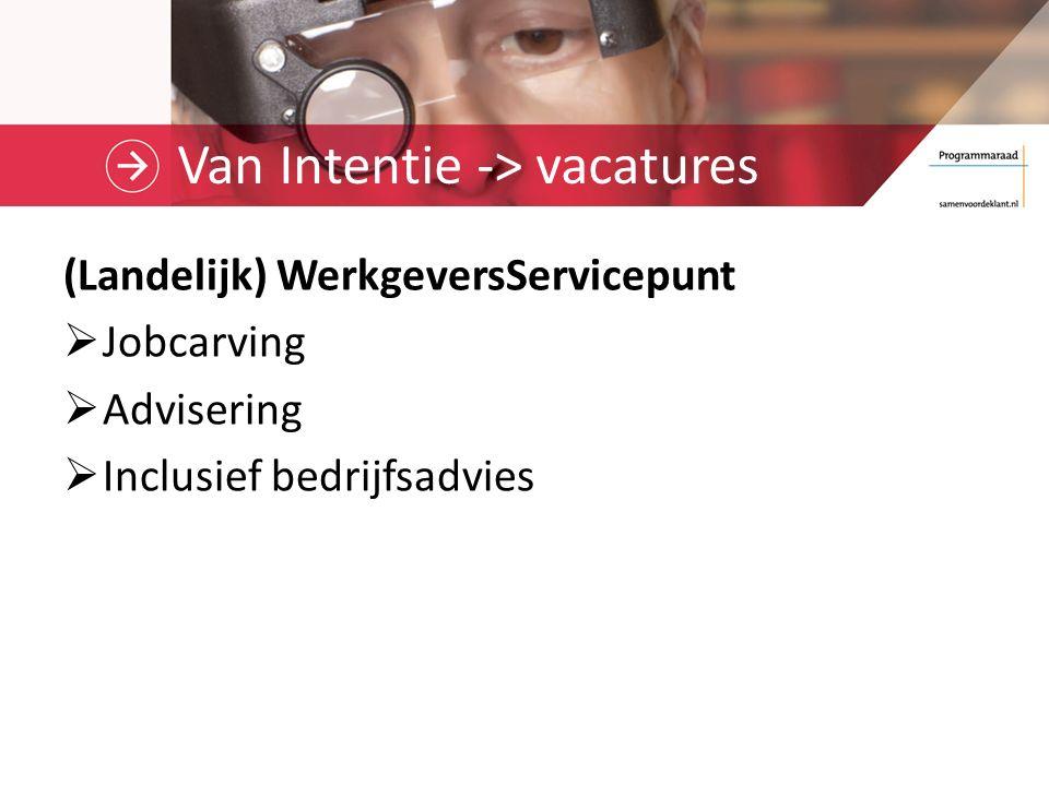 Van Intentie -> vacatures (Landelijk) WerkgeversServicepunt  Jobcarving  Advisering  Inclusief bedrijfsadvies