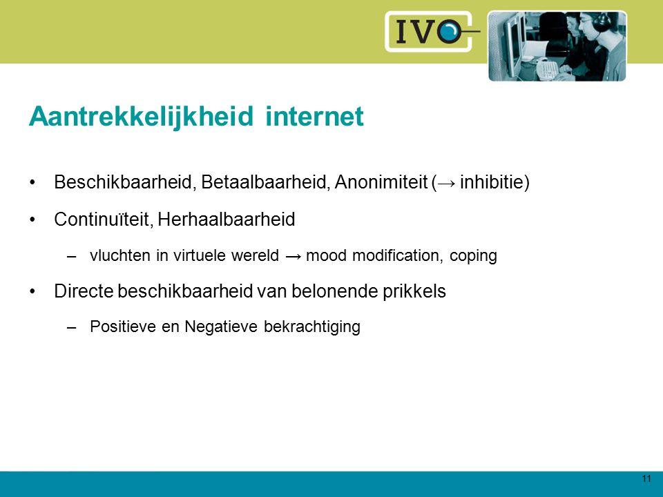 11 Aantrekkelijkheid internet Beschikbaarheid, Betaalbaarheid, Anonimiteit (→ inhibitie) Continuïteit, Herhaalbaarheid –vluchten in virtuele wereld →