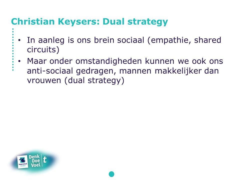 In aanleg is ons brein sociaal (empathie, shared circuits) Maar onder omstandigheden kunnen we ook ons anti-sociaal gedragen, mannen makkelijker dan vrouwen (dual strategy) Christian Keysers: Dual strategy