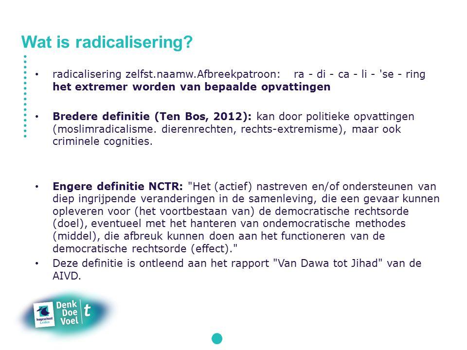 radicalisering zelfst.naamw.Afbreekpatroon: ra - di - ca - li - se - ring het extremer worden van bepaalde opvattingen Bredere definitie (Ten Bos, 2012): kan door politieke opvattingen (moslimradicalisme.