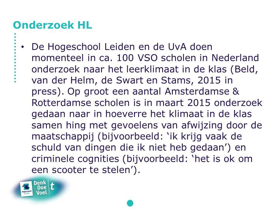 De Hogeschool Leiden en de UvA doen momenteel in ca. 100 VSO scholen in Nederland onderzoek naar het leerklimaat in de klas (Beld, van der Helm, de Sw