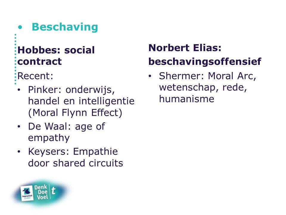 Beschaving Hobbes: social contract Recent: Pinker: onderwijs, handel en intelligentie (Moral Flynn Effect) De Waal: age of empathy Keysers: Empathie d
