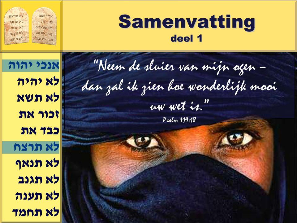 Gerard J.Wijtsma Samenvatting deel 1 Neem de sluier van mijn ogen – dan zal ik zien hoe wonderlijk mooi uw wet is. Psalm 119:18
