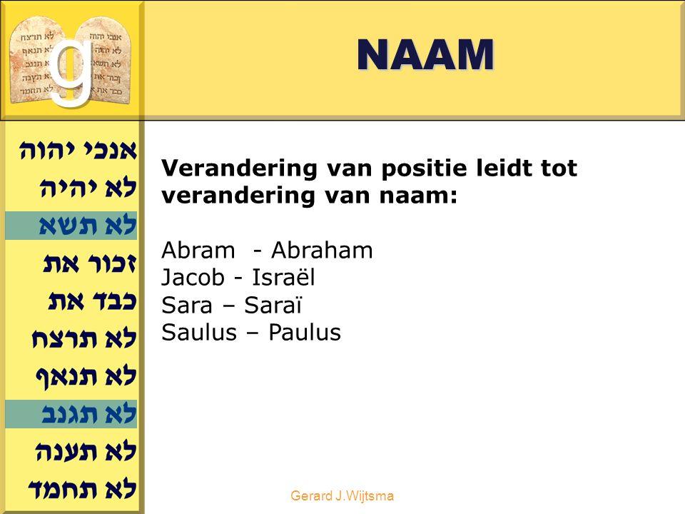 Gerard J.WijtsmaNAAM Verandering van positie leidt tot verandering van naam: Abram - Abraham Jacob - Israël Sara – Saraï Saulus – Paulus
