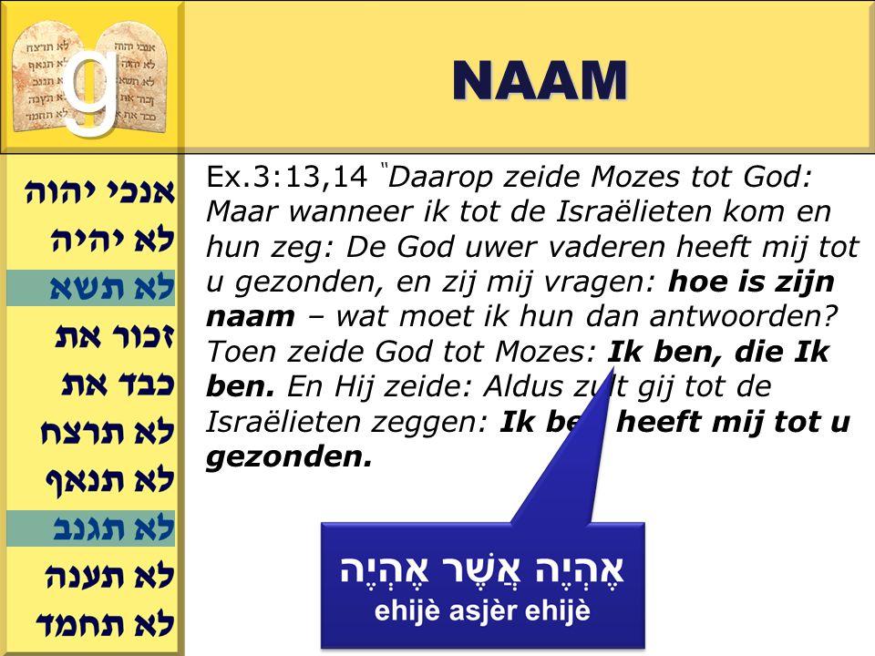 Gerard J.Wijtsma NAAM Ex.3:13,14 Daarop zeide Mozes tot God: Maar wanneer ik tot de Israëlieten kom en hun zeg: De God uwer vaderen heeft mij tot u gezonden, en zij mij vragen: hoe is zijn naam – wat moet ik hun dan antwoorden.
