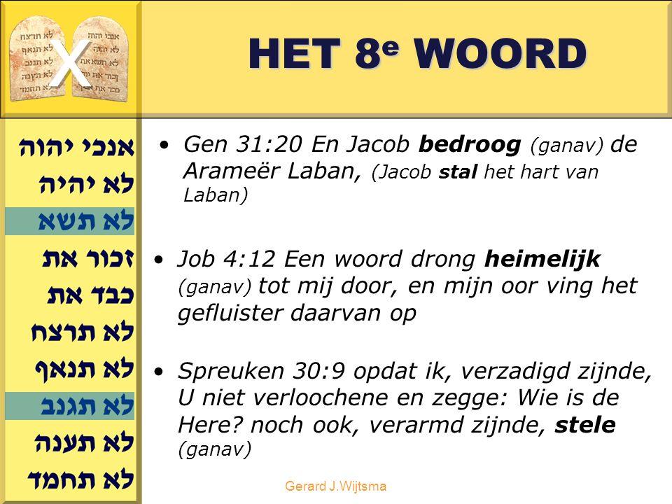 Gerard J.Wijtsma HET 8 e WOORD Gen 31:20 En Jacob bedroog (ganav) de Arameër Laban, (Jacob stal het hart van Laban) Job 4:12 Een woord drong heimelijk (ganav) tot mij door, en mijn oor ving het gefluister daarvan op Spreuken 30:9 opdat ik, verzadigd zijnde, U niet verloochene en zegge: Wie is de Here.