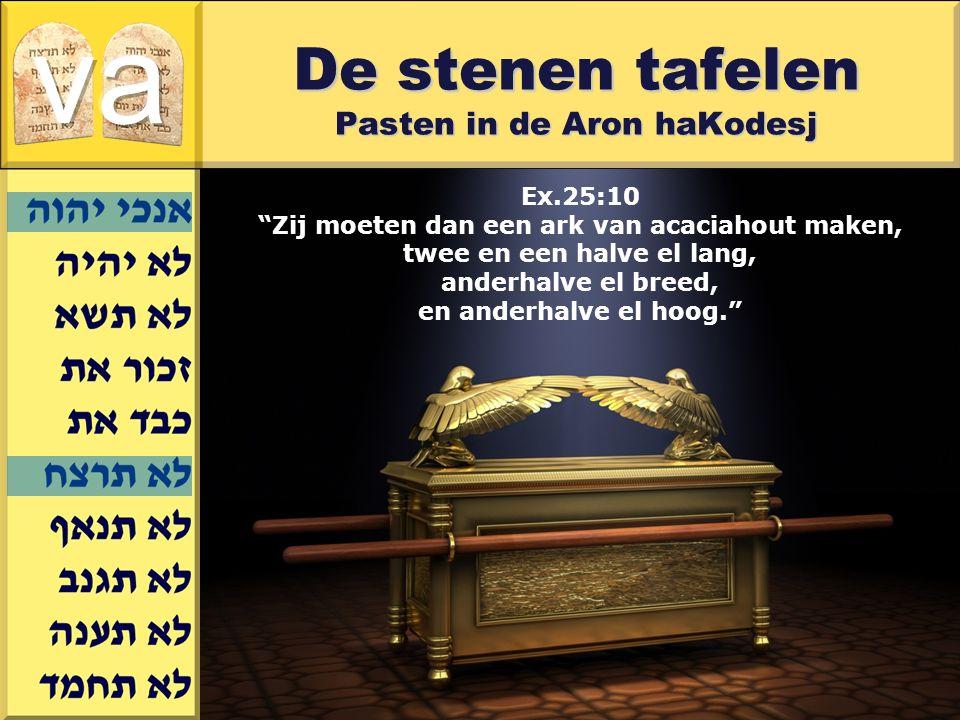 Gerard J.Wijtsma Ex.25:10 Zij moeten dan een ark van acaciahout maken, twee en een halve el lang, anderhalve el breed, en anderhalve el hoog. De stenen tafelen Pasten in de Aron haKodesj