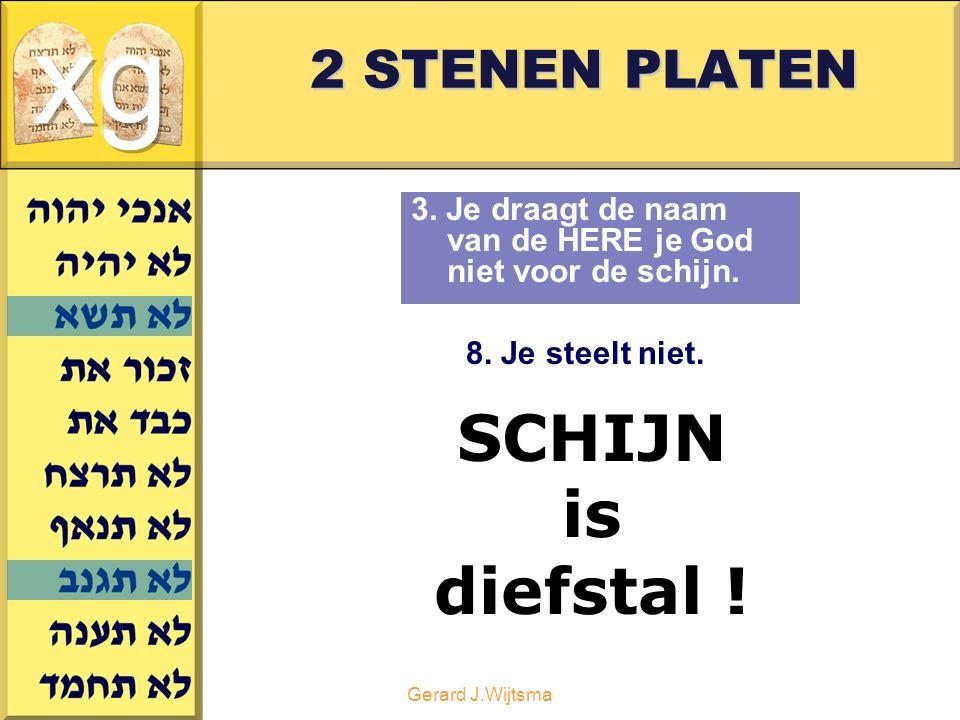 Gerard J.Wijtsma 2 STENEN PLATEN 3.Je draagt de naam van de HERE je God niet voor de schijn.