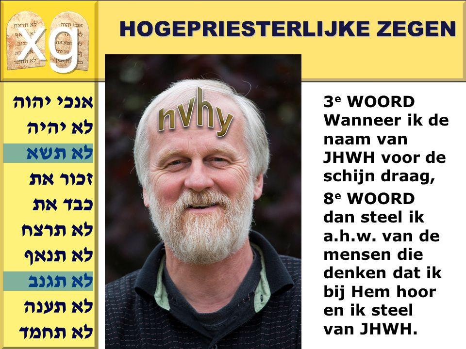 Gerard J.Wijtsma HOGEPRIESTERLIJKE ZEGEN 3 e WOORD Wanneer ik de naam van JHWH voor de schijn draag, 8 e WOORD dan steel ik a.h.w.