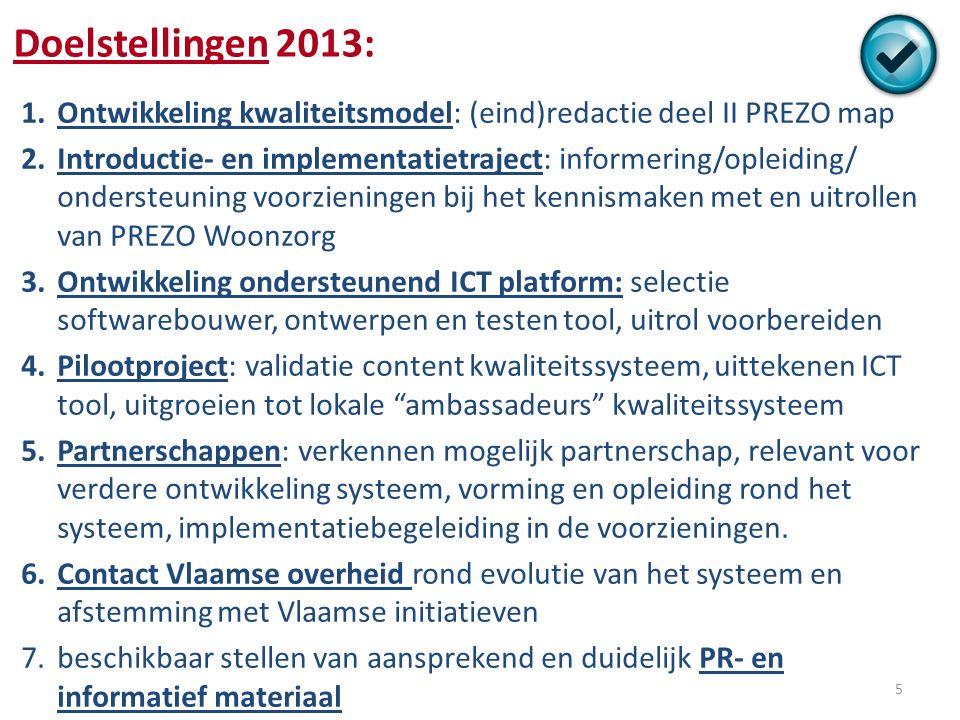 Resultaten 2013 1.Ontwikkeling kwaliteitsmodel: Deel II PREZO map - gepubliceerd mei 2013 2.