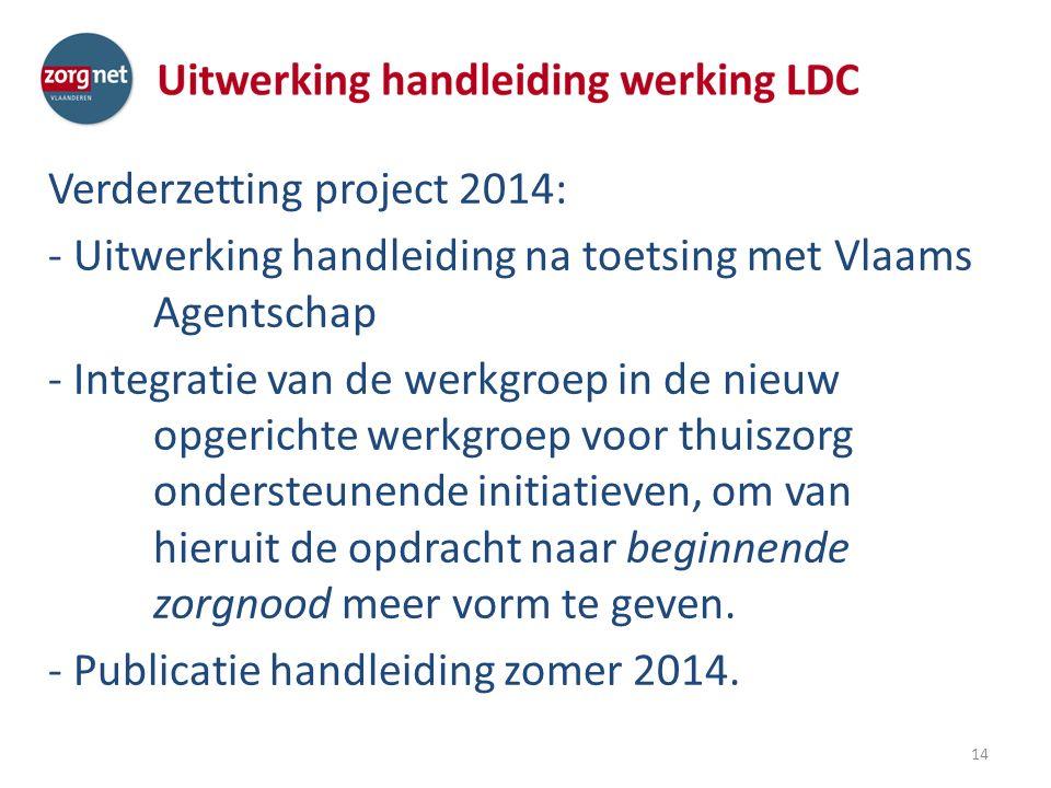 Verderzetting project 2014: - Uitwerking handleiding na toetsing met Vlaams Agentschap - Integratie van de werkgroep in de nieuw opgerichte werkgroep voor thuiszorg ondersteunende initiatieven, om van hieruit de opdracht naar beginnende zorgnood meer vorm te geven.