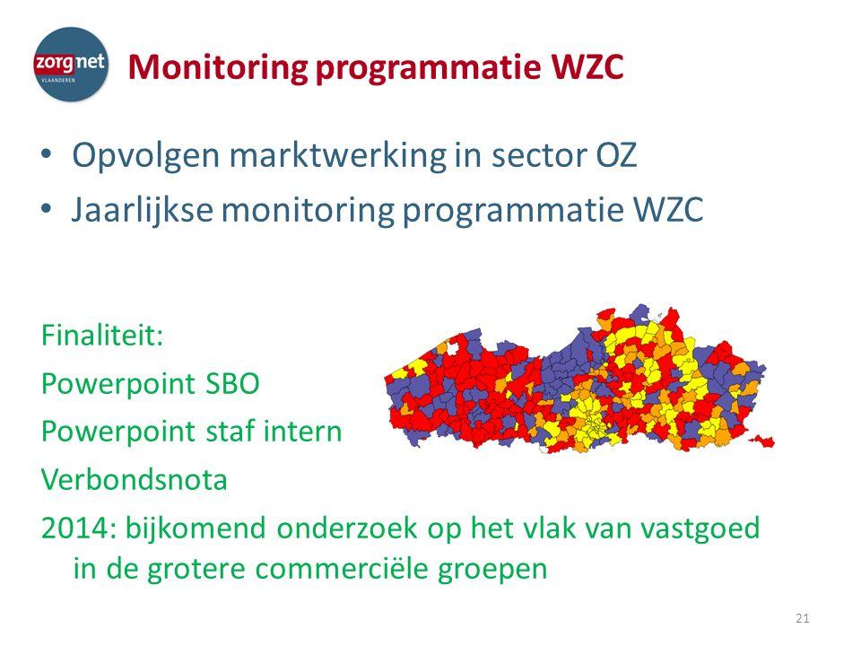 Monitoring programmatie WZC Opvolgen marktwerking in sector OZ Jaarlijkse monitoring programmatie WZC 21 Finaliteit: Powerpoint SBO Powerpoint staf intern Verbondsnota 2014: bijkomend onderzoek op het vlak van vastgoed in de grotere commerciële groepen