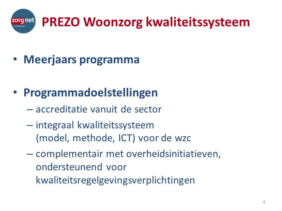 PREZO Woonzorg kwaliteitssysteem Meerjaars programma Programmadoelstellingen – accreditatie vanuit de sector – integraal kwaliteitssysteem (model, methode, ICT) voor de wzc – complementair met overheidsinitiatieven, ondersteunend voor kwaliteitsregelgevingsverplichtingen 4