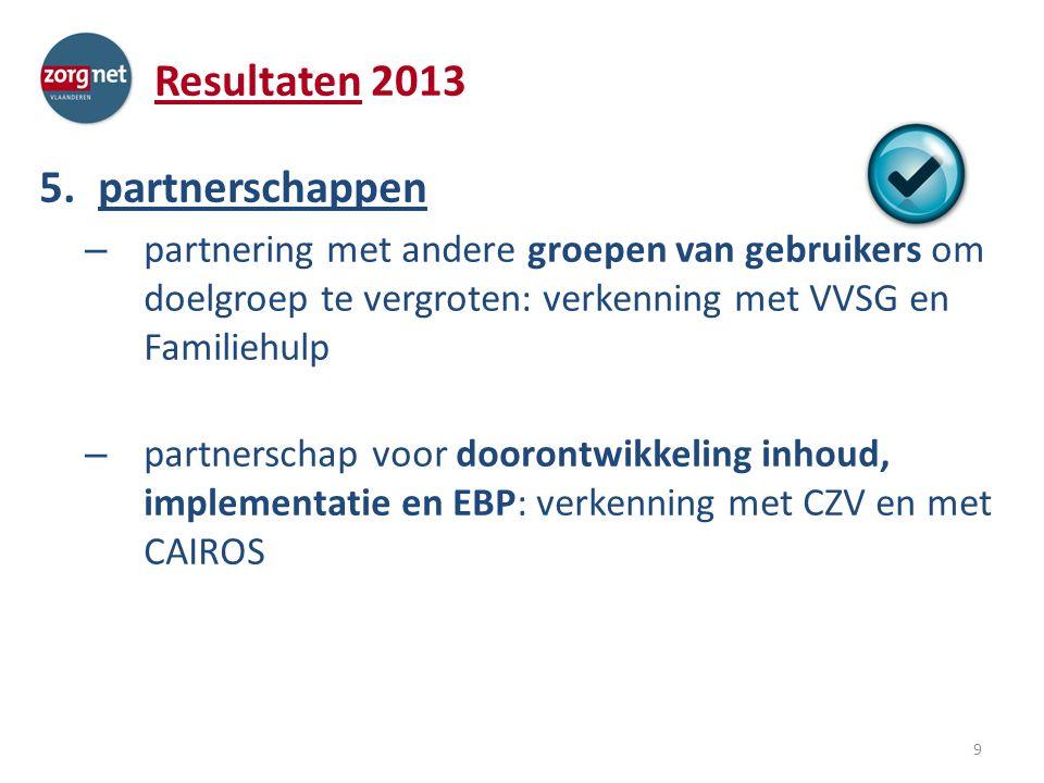 Resultaten 2013 5.partnerschappen – partnering met andere groepen van gebruikers om doelgroep te vergroten: verkenning met VVSG en Familiehulp – partnerschap voor doorontwikkeling inhoud, implementatie en EBP: verkenning met CZV en met CAIROS 9