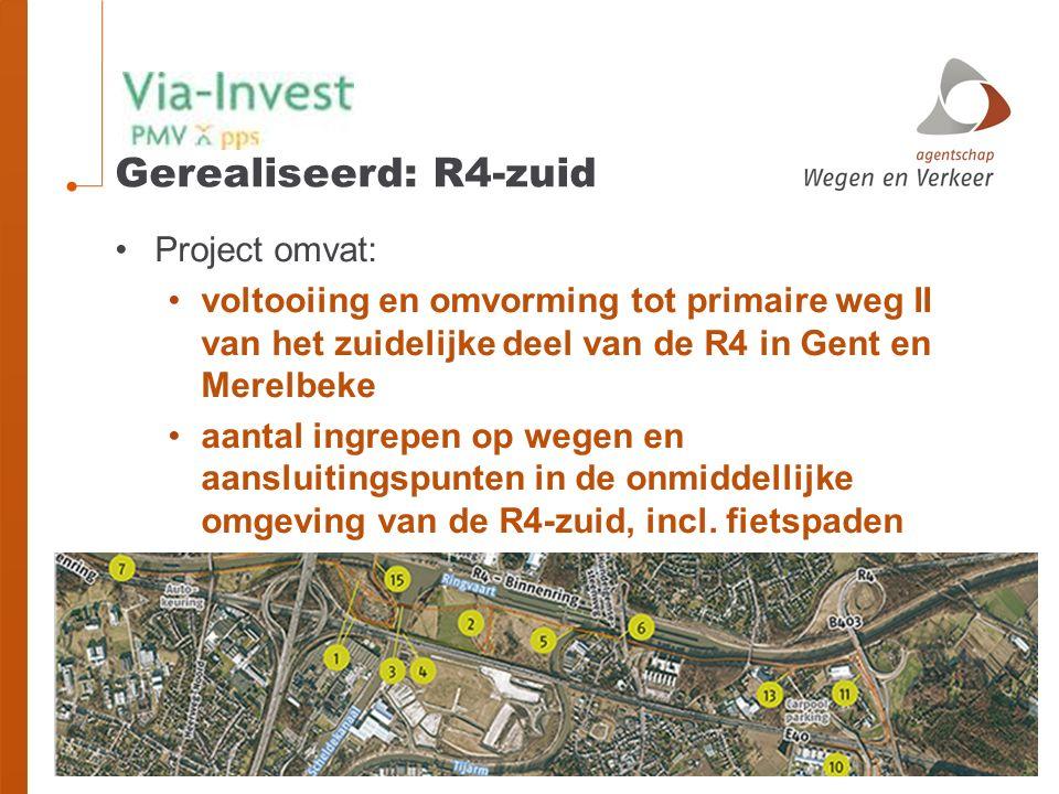 Gerealiseerd: R4-zuid Project omvat: voltooiing en omvorming tot primaire weg II van het zuidelijke deel van de R4 in Gent en Merelbeke aantal ingrepen op wegen en aansluitingspunten in de onmiddellijke omgeving van de R4-zuid, incl.