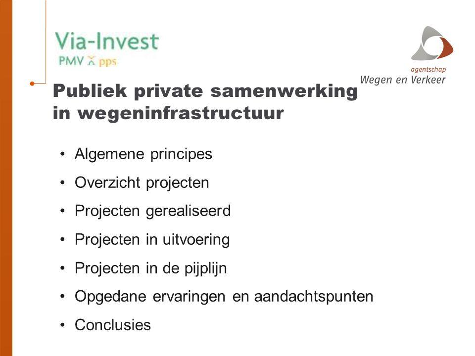 Algemene principes Overzicht projecten Projecten gerealiseerd Projecten in uitvoering Projecten in de pijplijn Opgedane ervaringen en aandachtspunten Conclusies