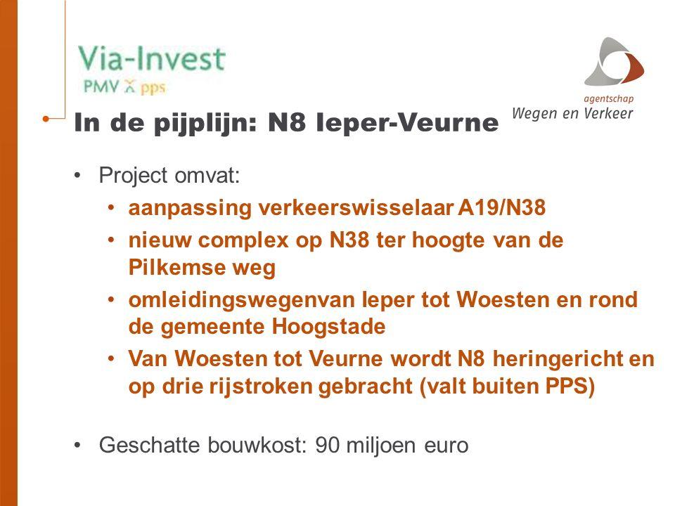 In de pijplijn: N8 Ieper-Veurne Project omvat: aanpassing verkeerswisselaar A19/N38 nieuw complex op N38 ter hoogte van de Pilkemse weg omleidingswegenvan Ieper tot Woesten en rond de gemeente Hoogstade Van Woesten tot Veurne wordt N8 heringericht en op drie rijstroken gebracht (valt buiten PPS) Geschatte bouwkost: 90 miljoen euro