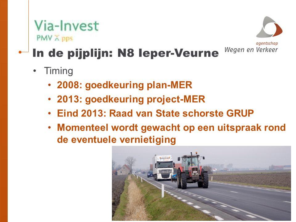 In de pijplijn: N8 Ieper-Veurne Timing 2008: goedkeuring plan-MER 2013: goedkeuring project-MER Eind 2013: Raad van State schorste GRUP Momenteel wordt gewacht op een uitspraak rond de eventuele vernietiging
