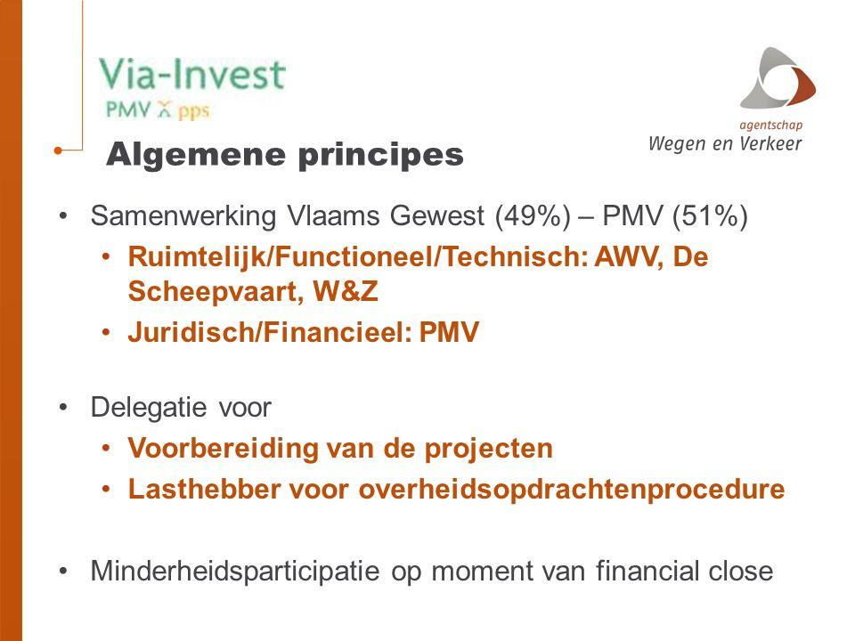 Algemene principes Samenwerking Vlaams Gewest (49%) – PMV (51%) Ruimtelijk/Functioneel/Technisch: AWV, De Scheepvaart, W&Z Juridisch/Financieel: PMV Delegatie voor Voorbereiding van de projecten Lasthebber voor overheidsopdrachtenprocedure Minderheidsparticipatie op moment van financial close