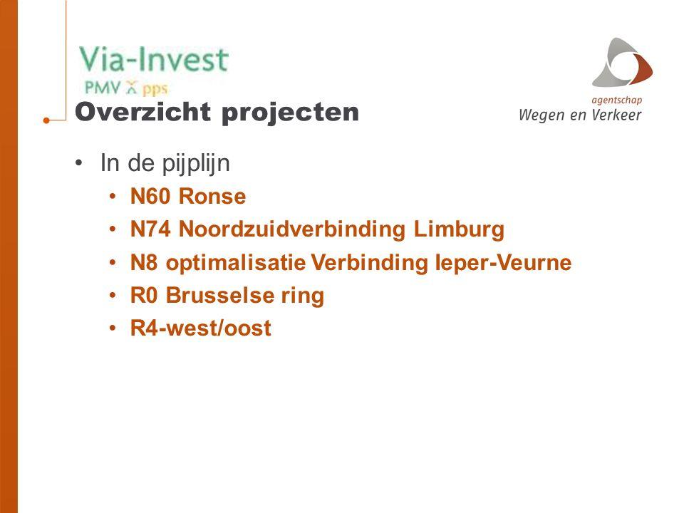 Overzicht projecten In de pijplijn N60 Ronse N74 Noordzuidverbinding Limburg N8 optimalisatie Verbinding Ieper-Veurne R0 Brusselse ring R4-west/oost