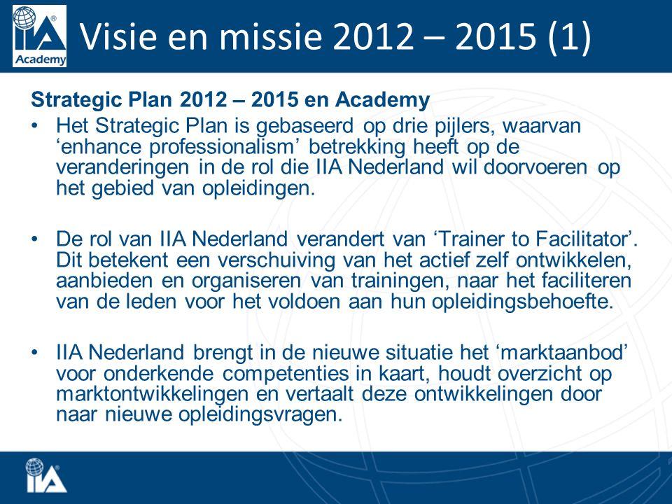 Strategic Plan 2012 – 2015 en Academy Het Strategic Plan is gebaseerd op drie pijlers, waarvan 'enhance professionalism' betrekking heeft op de veranderingen in de rol die IIA Nederland wil doorvoeren op het gebied van opleidingen.
