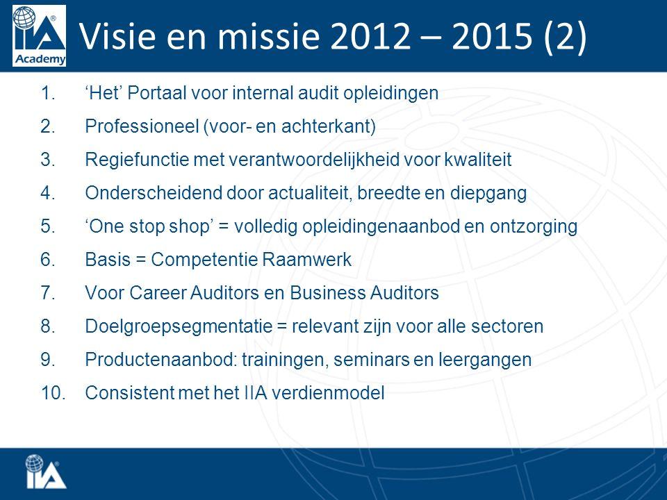 Visie en missie 2012 – 2015 (2) 1.'Het' Portaal voor internal audit opleidingen 2.Professioneel (voor- en achterkant) 3.Regiefunctie met verantwoordelijkheid voor kwaliteit 4.Onderscheidend door actualiteit, breedte en diepgang 5.'One stop shop' = volledig opleidingenaanbod en ontzorging 6.Basis = Competentie Raamwerk 7.Voor Career Auditors en Business Auditors 8.Doelgroepsegmentatie = relevant zijn voor alle sectoren 9.Productenaanbod: trainingen, seminars en leergangen 10.Consistent met het IIA verdienmodel
