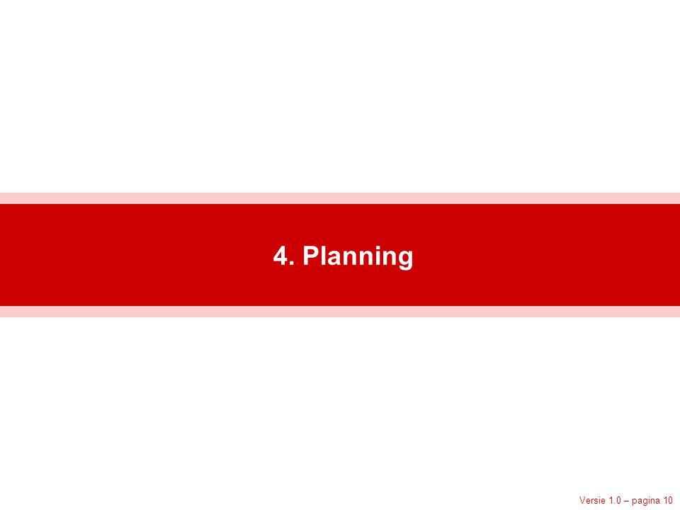 Versie 1.0 – pagina 10 4. Planning