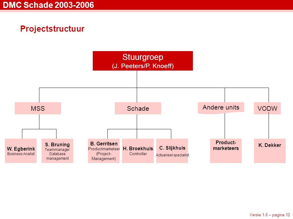 Versie 1.0 – pagina 12 DMC Schade 2003-2006 Projectstructuur Stuurgroep (J.