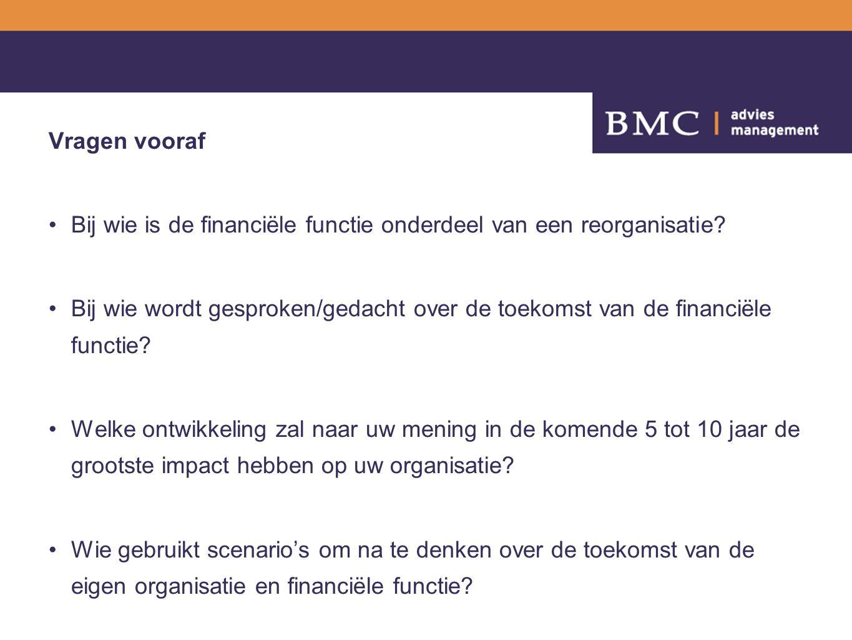 Vragen vooraf Bij wie is de financiële functie onderdeel van een reorganisatie? Bij wie wordt gesproken/gedacht over de toekomst van de financiële fun