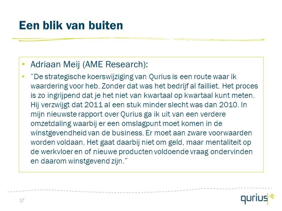 Een blik van buiten 17 Adriaan Meij (AME Research): De strategische koerswijziging van Qurius is een route waar ik waardering voor heb.