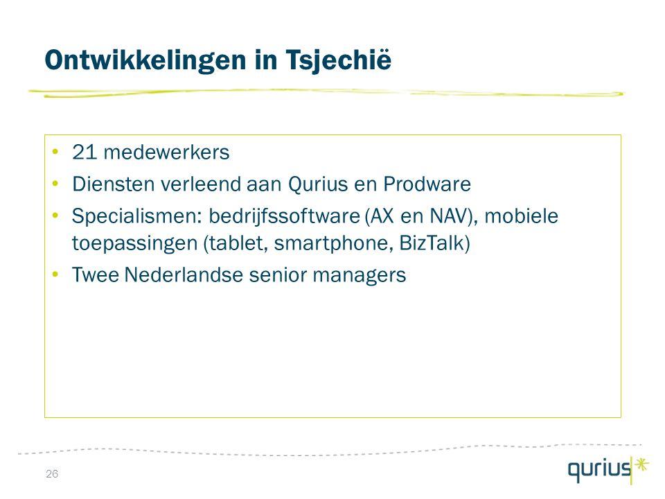 Ontwikkelingen in Tsjechië 26 21 medewerkers Diensten verleend aan Qurius en Prodware Specialismen: bedrijfssoftware (AX en NAV), mobiele toepassingen (tablet, smartphone, BizTalk) Twee Nederlandse senior managers