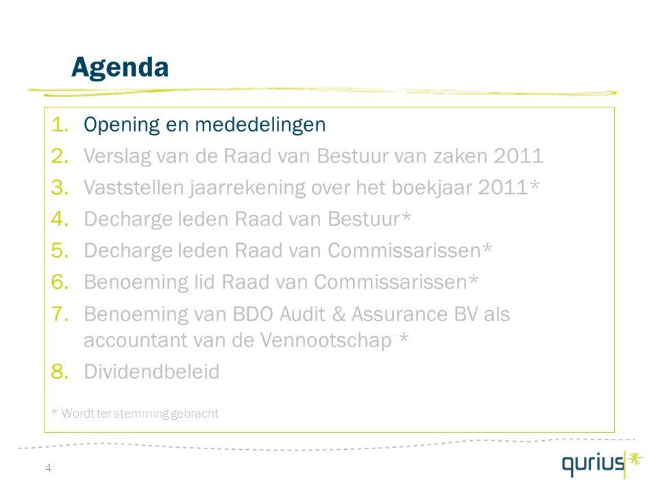 Conclusie 15 In 2011 is de financiële performance van voortgezette bedrijfsactiviteiten verbeterd: Kostenbasis is verlaagd met euro 5,5 mln.