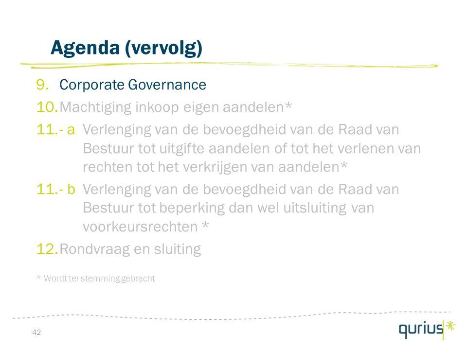 Agenda (vervolg) 9.Corporate Governance 10.Machtiging inkoop eigen aandelen* 11.- aVerlenging van de bevoegdheid van de Raad van Bestuur tot uitgifte aandelen of tot het verlenen van rechten tot het verkrijgen van aandelen* 11.- bVerlenging van de bevoegdheid van de Raad van Bestuur tot beperking dan wel uitsluiting van voorkeursrechten * 12.Rondvraag en sluiting * Wordt ter stemming gebracht 42