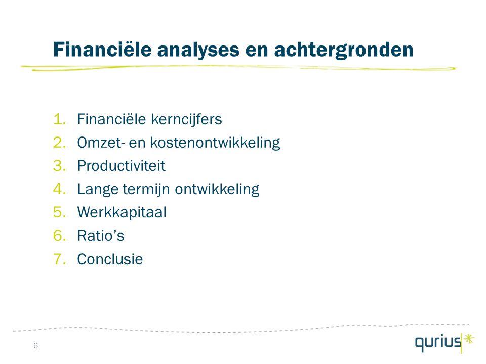 Financiële analyses en achtergronden 1.Financiële kerncijfers 2.Omzet- en kostenontwikkeling 3.Productiviteit 4.Lange termijn ontwikkeling 5.Werkkapitaal 6.Ratio's 7.Conclusie 6