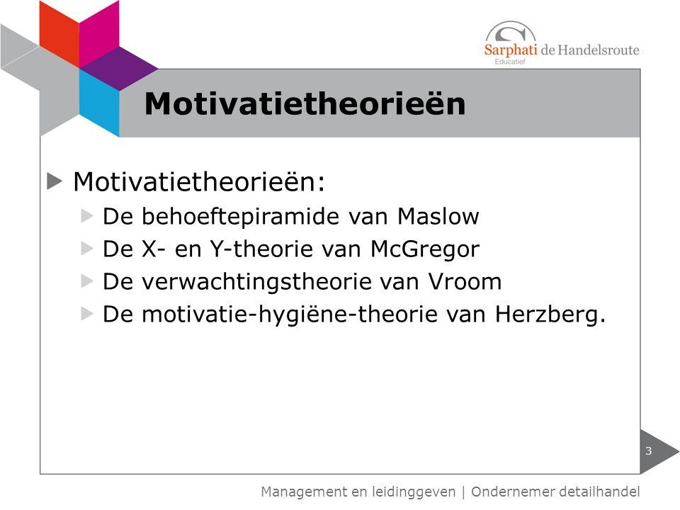 Motivatietheorieën: De behoeftepiramide van Maslow De X- en Y-theorie van McGregor De verwachtingstheorie van Vroom De motivatie-hygiëne-theorie van H