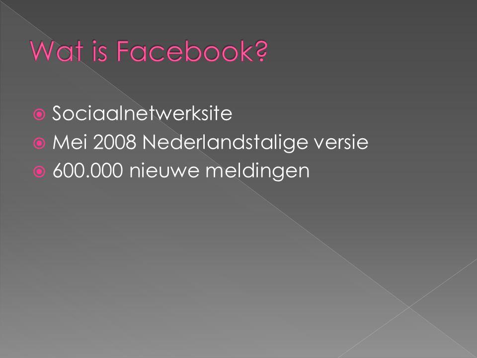  Sociaalnetwerksite  Mei 2008 Nederlandstalige versie  600.000 nieuwe meldingen