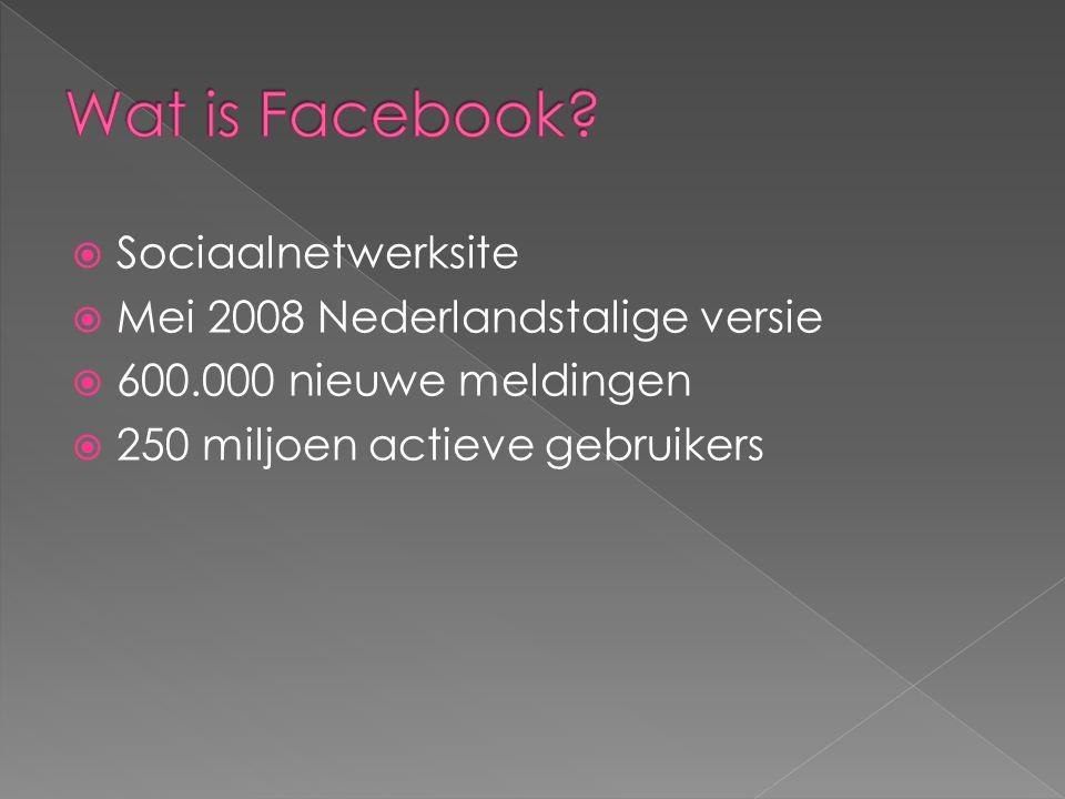  Sociaalnetwerksite  Mei 2008 Nederlandstalige versie  600.000 nieuwe meldingen  250 miljoen actieve gebruikers