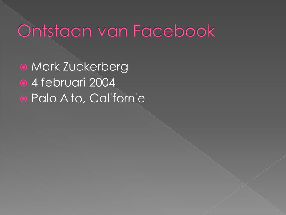  Mark Zuckerberg  4 februari 2004  Palo Alto, Californie