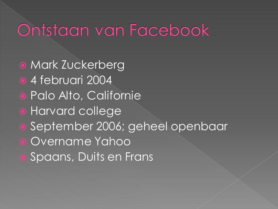  Mark Zuckerberg  4 februari 2004  Palo Alto, Californie  Harvard college  September 2006; geheel openbaar  Overname Yahoo  Spaans, Duits en Frans