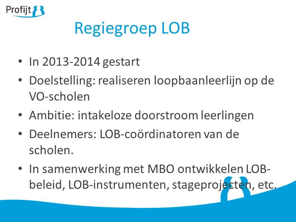 Regiegroep LOB In 2013-2014 gestart Doelstelling: realiseren loopbaanleerlijn op de VO-scholen Ambitie: intakeloze doorstroom leerlingen Deelnemers: L